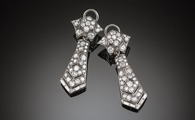 Art Deco diamond and platinum drop earrings