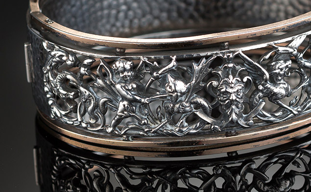 Rare antique French silver and heavy rose gold vermeil bangle