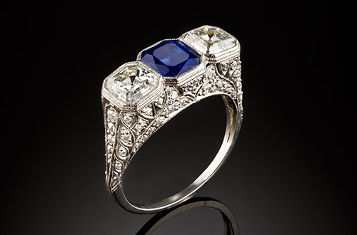 Authentic Art Deco diamond and sapphire ring at James Alfredson, Melbourne