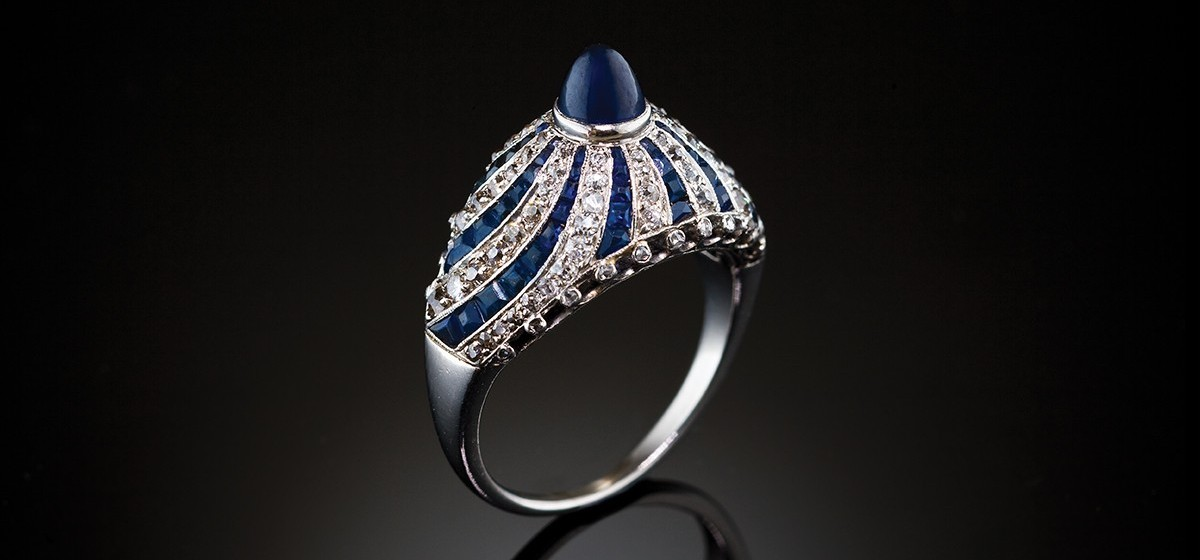 media deco platinum antique cabochon ring rings sapphire art blue engagement cut in
