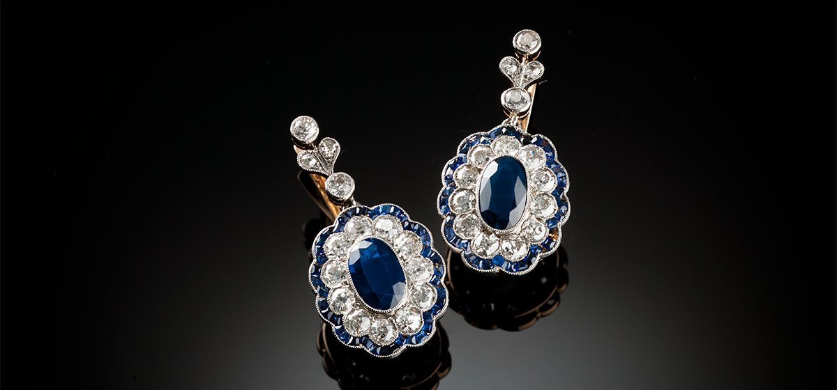 Belle epoque sapphire diamond pendant earrings james alfredson belle epoque sapphire and diamond ear pendants mozeypictures Gallery