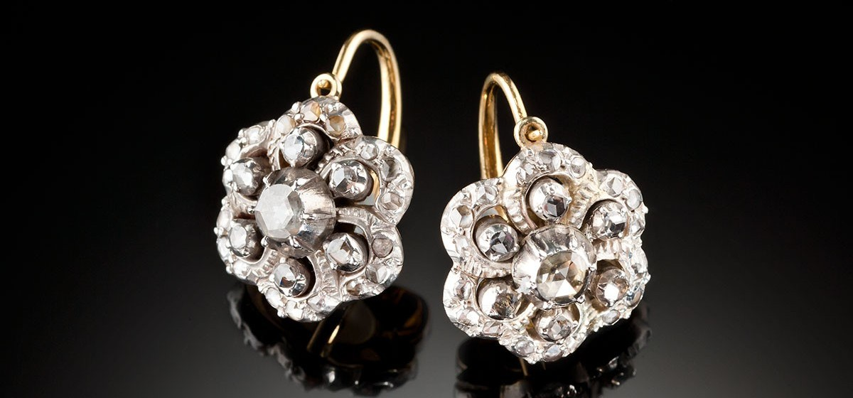 Antique Diamond Gold And Silver Floral Cluster Earrings