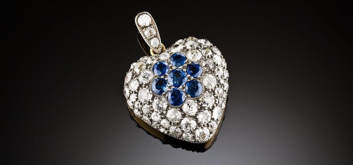 Antique diamond and sapphire heart locket pendant james alfredson antique diamond and sapphire heart locket pendant aloadofball Image collections