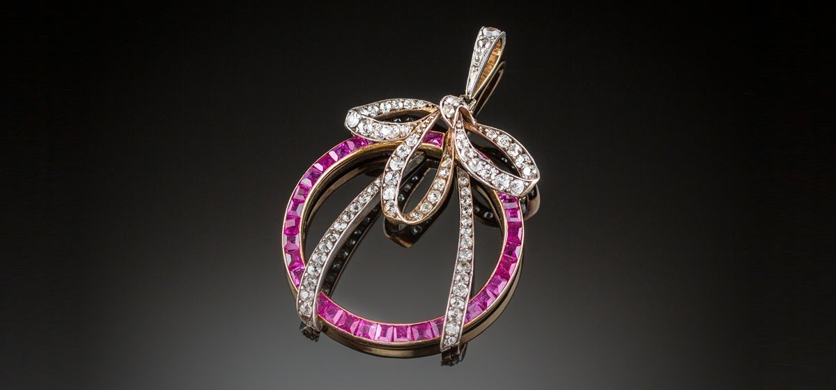 A Belle Epoque ruby and diamond pendant in silver and gold