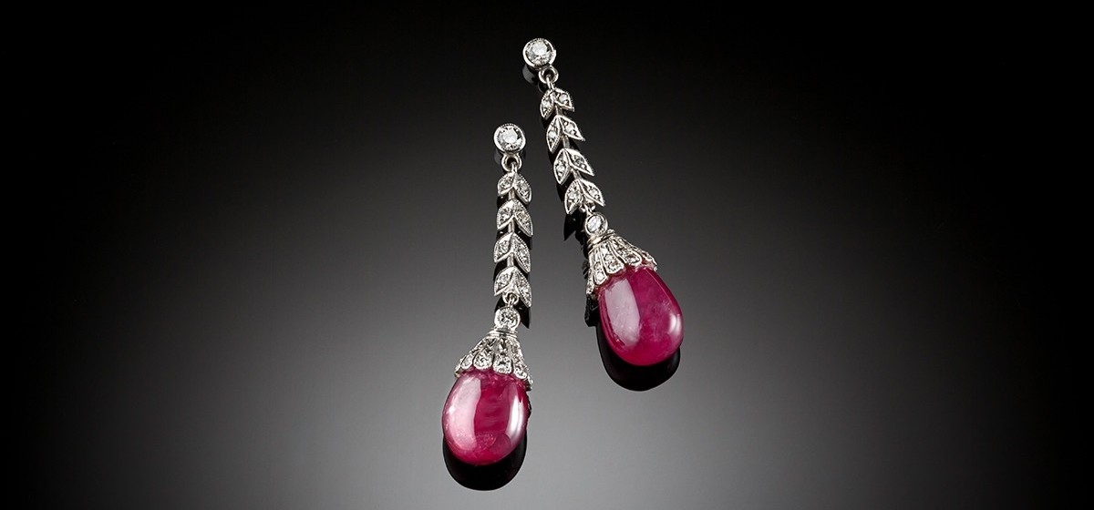 Vintage ruby diamond and white gold ear pendants