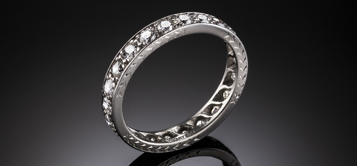 An Art Deco platinum and diamond band handcrafted by Tiffany & Co
