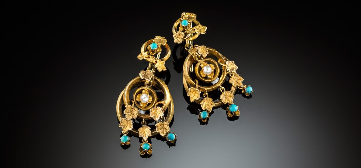 Antique yellow gold, turquoise and seed pearl drop earrings