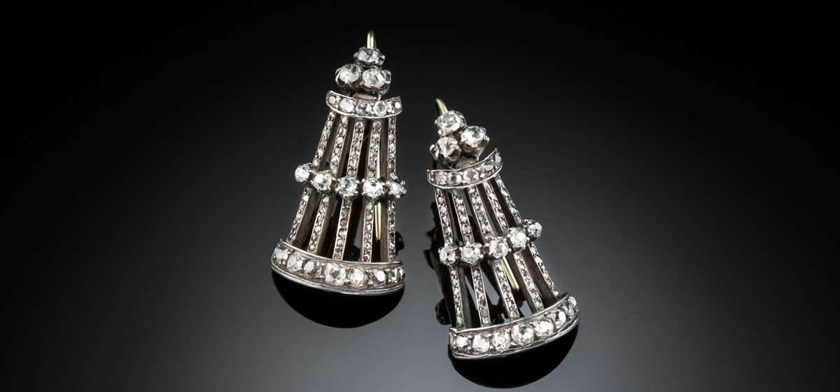 Antique diamond drop earrings set in gold and silver