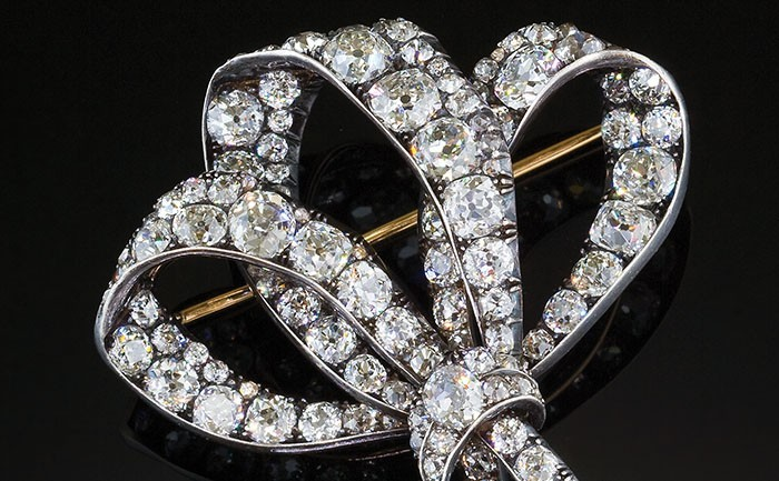 Large antique diamond triple loop ribbon bow brooch