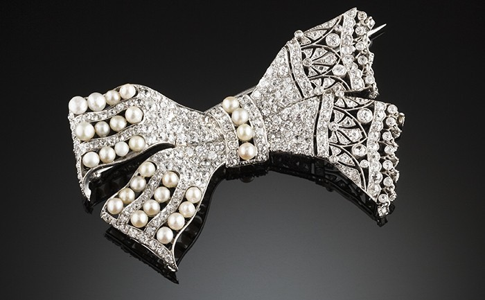 Large Belle Epoque diamond and natural pearl brooch / pendant