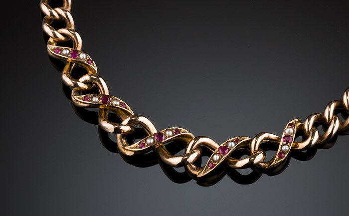 Antique ruby, seed pearl and rose gold bracelet