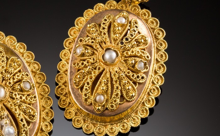 Detail of Antique gold, filigree and seed pearl oval earrings