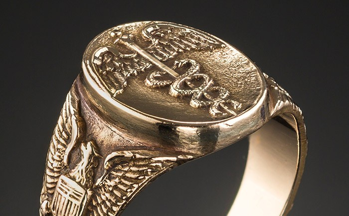 A 1940s American Medical Corps Gold Signet Ring James