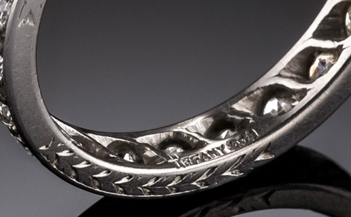 Detail of an Art Deco platinum and diamond band handcrafted by Tiffany & Co