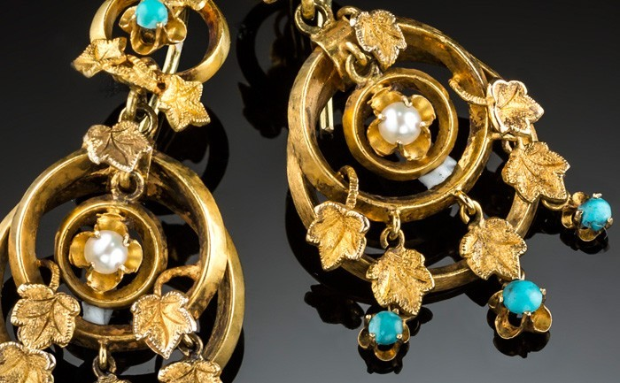 Detail of Antique yellow gold, turquoise and seed pearl drop earrings