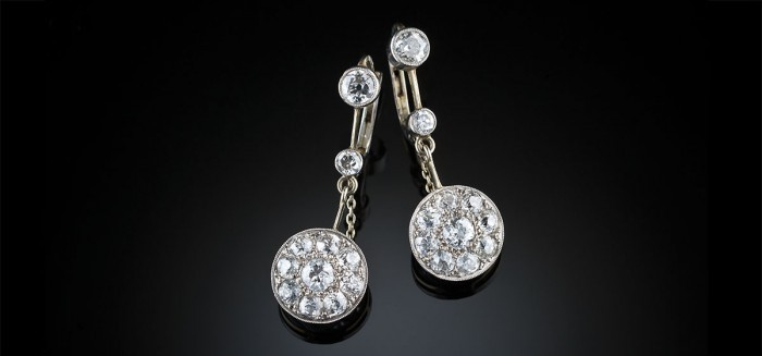 Art Deco diamond cluster pendant earrings