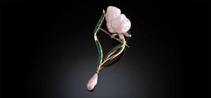 Art Nouveau natural pearl, emerald and diamond brooch