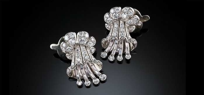 A pair of Art Deco diamond clip earrings by Ghiso