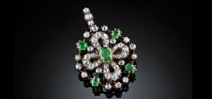 Antique diamond and demantoid garnet brooch / pendant