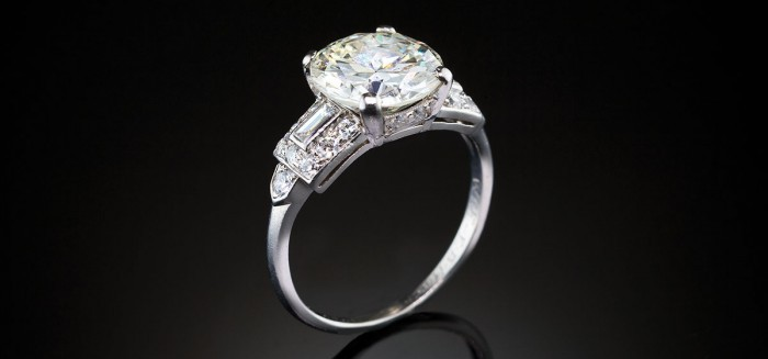 An impressive art deco solitaire diamond ring