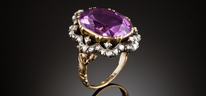 A large antique amethyst and diamond ring