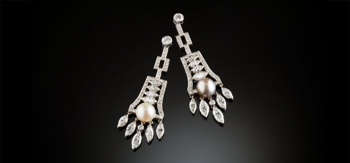 Diamond and natural pearl contemporary earrings
