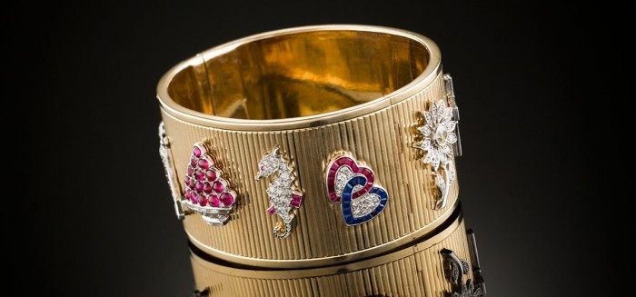 Retro gem charms and hinged gold cuff bracelet