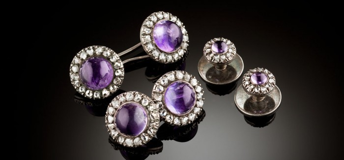 An antique dress double cufflinks and collar studs set of amethyst and diamond