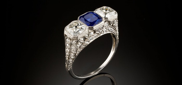 Art Deco Sapphire and old Asscher cut diamond ring