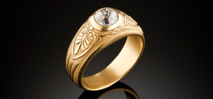 Antique gold and diamond Russian ring