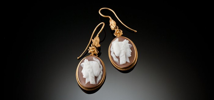 Antique gilded gold and shell oval cameo earrings