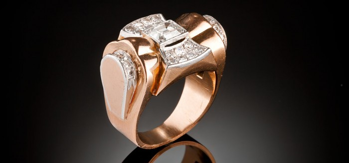 A Retro gold, platinum and diamond ring