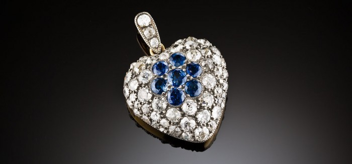 Antique diamond and sapphire heart locket pendant