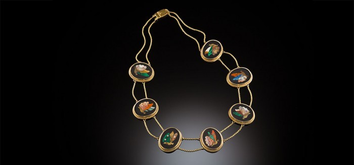 Antique yellow gold pietra dura collar