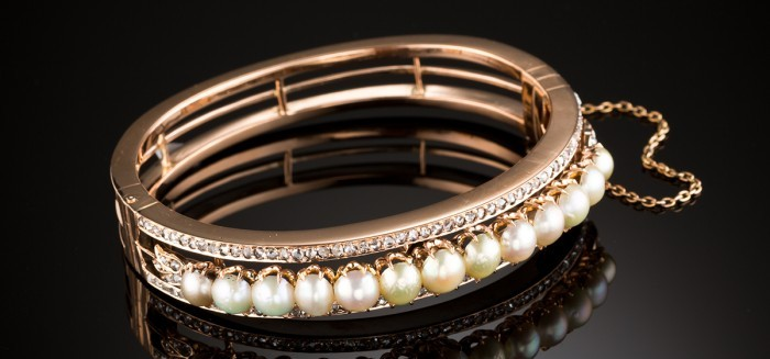 Antique natural pearl rose cut diamond and rose gold hinged bangle
