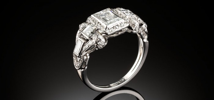 A late Art Deco platinum and rectangular cut diamond ring, circa 1938