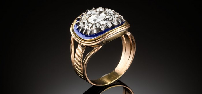 Antique diamond, blue enamel, gold and silver ring