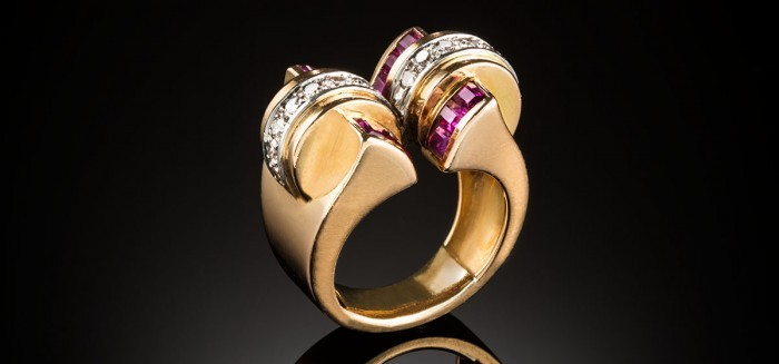 A French early retro ruby and diamond gold ring