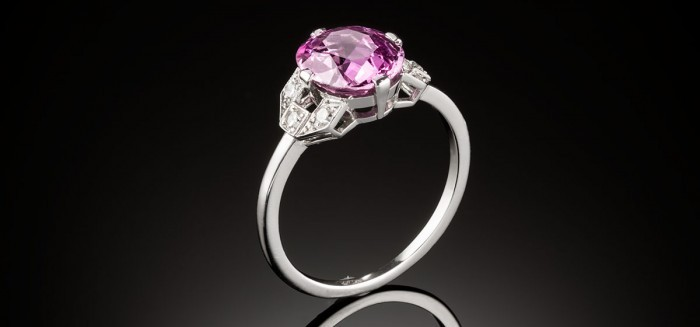 An Art Deco vibrant fuchsia pink sapphire and diamond ring