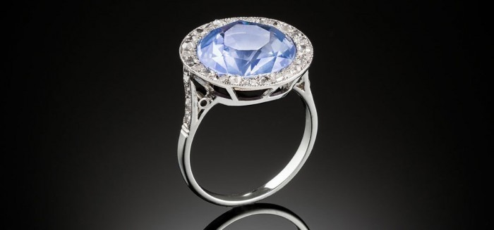 A 1920s large sapphire and diamond cluster ring