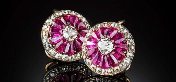 Antique ruby diamond and gold set cluster earrings