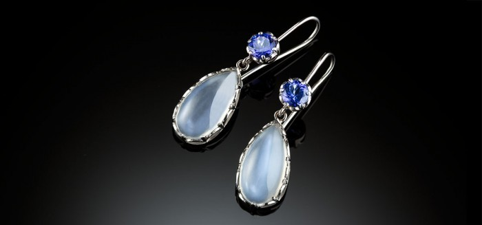 Contemporary handcrafted moonstone and tanzanite pendant earrings