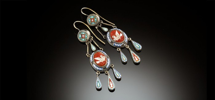 An antique pair of micro mosaic and silver drop earrings