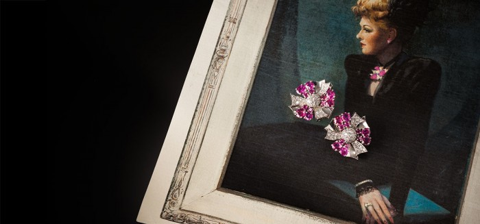 Ruby, diamond and platinum ear-clips from the 1940s