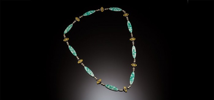 French Art Deco Pate de Verre, paste, enamel long necklace