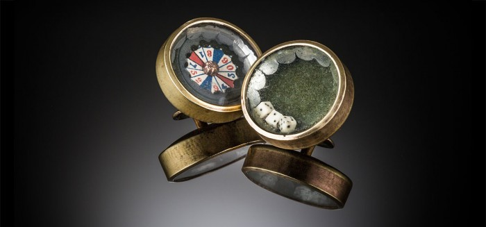 Large antique gambling themed cufflinks