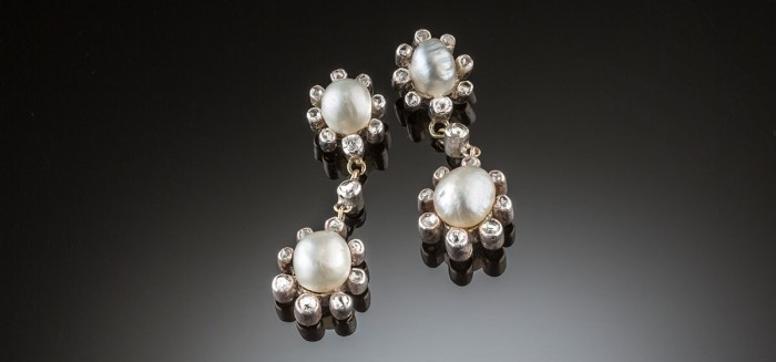 Early twentieth century natural pearl and diamond ear pendants