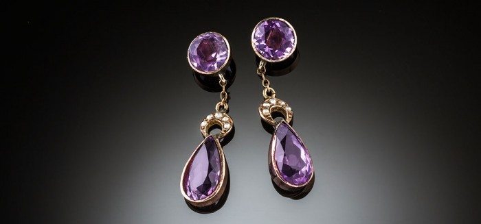 Edwardian amethyst and seed pearl pendant earrings