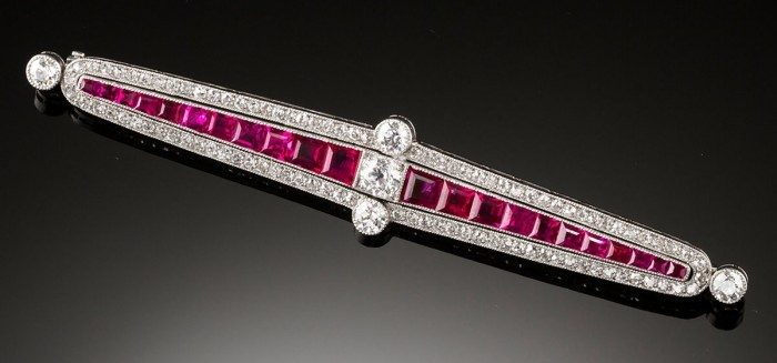Art Deco Ruby diamond and platinum brooch