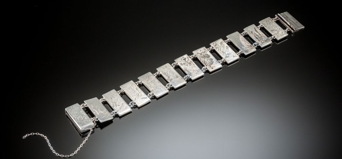 An Art Deco engraved silver bracelet by Charles Boyton
